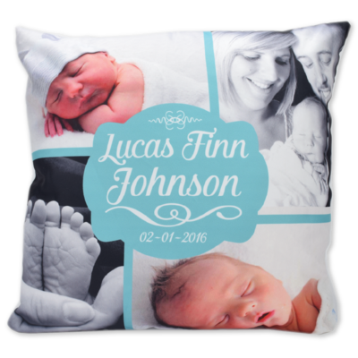 Celebration Photo Cushion Cover - Birth Announcement