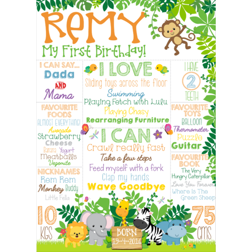 Jungle Birthday Banner [Size: 60cm x 40cm (approx)]